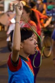 A boy performing