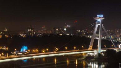 The SNP Bridge and UFO restaurant in Bratislava, Slovakia