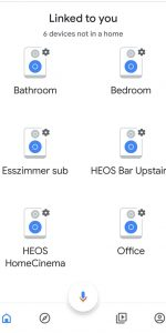 Screenshot from Google Home and Heos devices